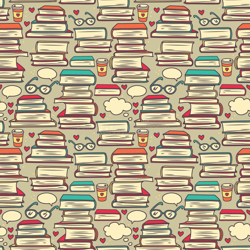 Seamless pattern with stacks of books and hearts. Pop art colours, vector illustration royalty free illustration