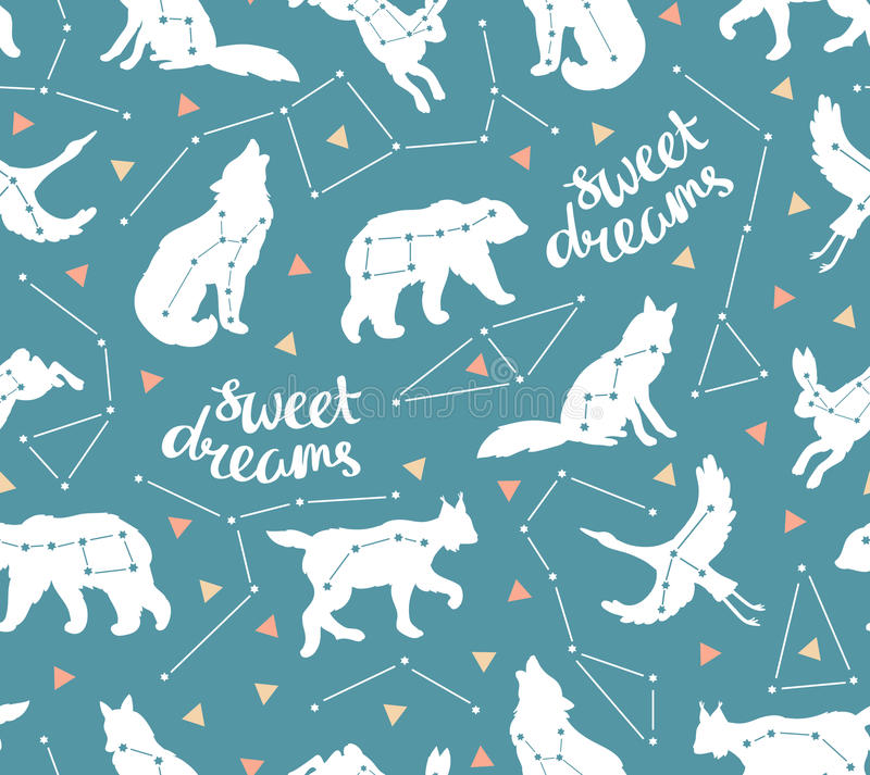 Seamless Pattern With Star Animals Vector Hipster Background Sky Fashion Design For Fabric Wallpaper Or Gift Wrap