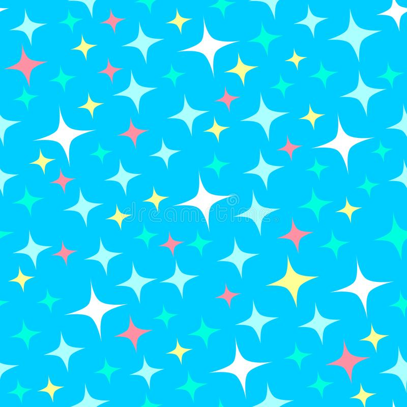 Seamless pattern with starlight sparkles, twinkling stars. Shining blue background. Cartoon style royalty free illustration