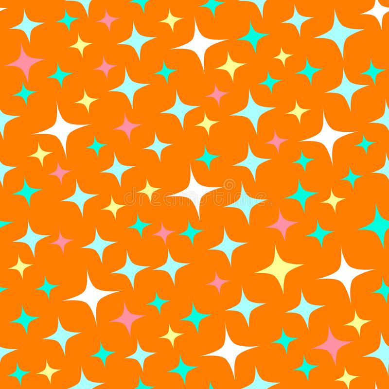 Seamless pattern with starlight sparkles, twinkling stars. Shining orange background. Abstract luster, chic backdrop. Cartoon vector illustration