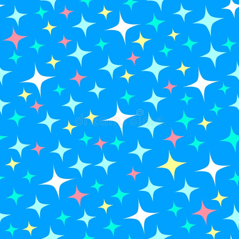 Seamless pattern with starlight sparkles, twinkling stars. Shiny blue background. Illustration of night starry sky. Cartoon style vector illustration