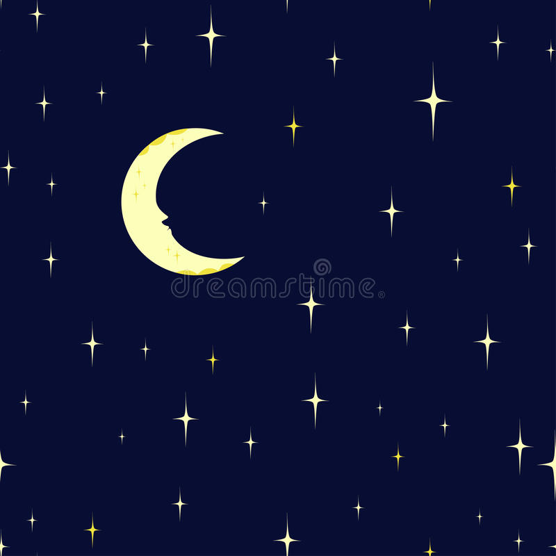 Free Seamless Pattern Starry Night Sky And Moon. Royalty Free Stock Photo - 70777285