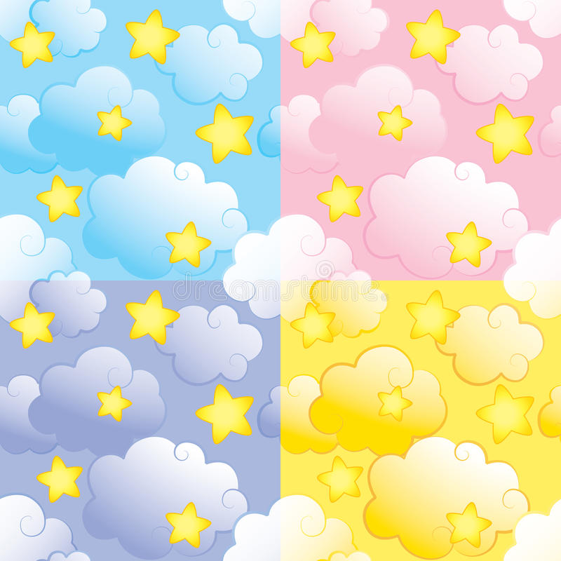 Seamless pattern with stars and clouds vector illustration