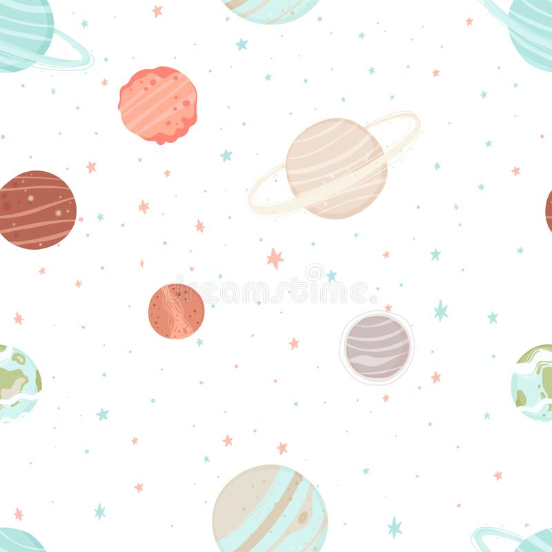 Seamless pattern with stars, constellations, planets and hand drawn elements royalty free illustration