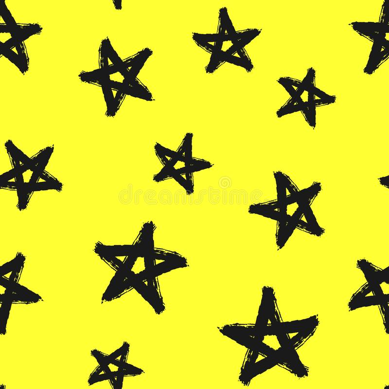 Seamless pattern with stars drawn by hand. Grunge, graffiti, watercolour, sketch. Modern vector illustration stock illustration