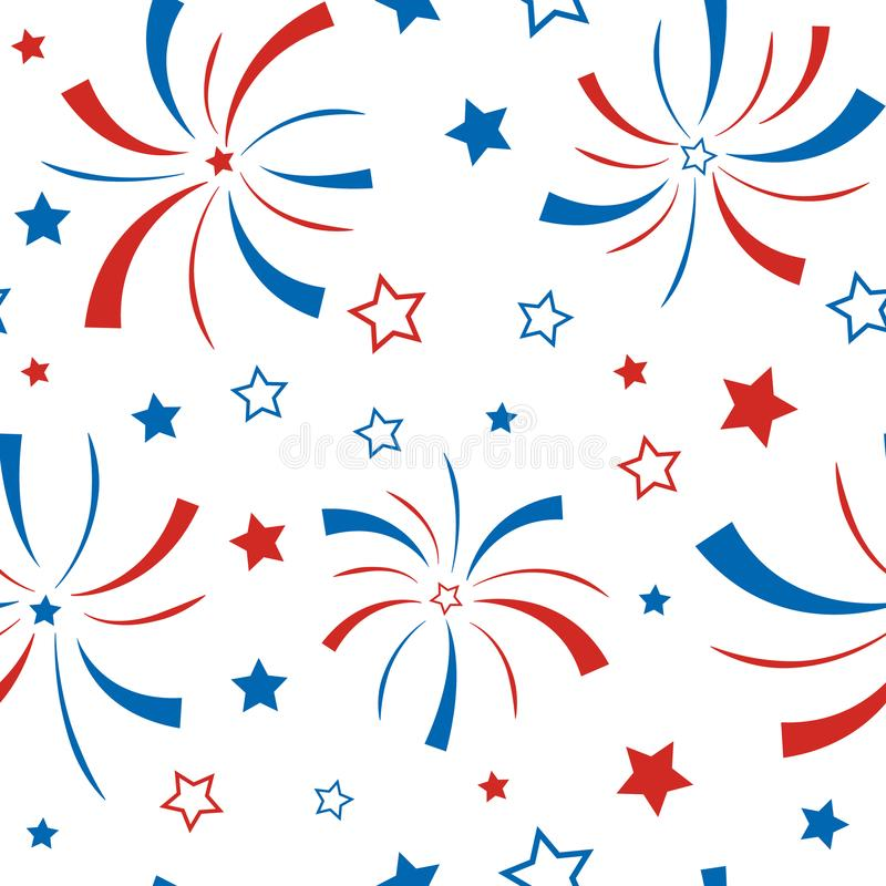 Seamless pattern with stars and firework. royalty free illustration
