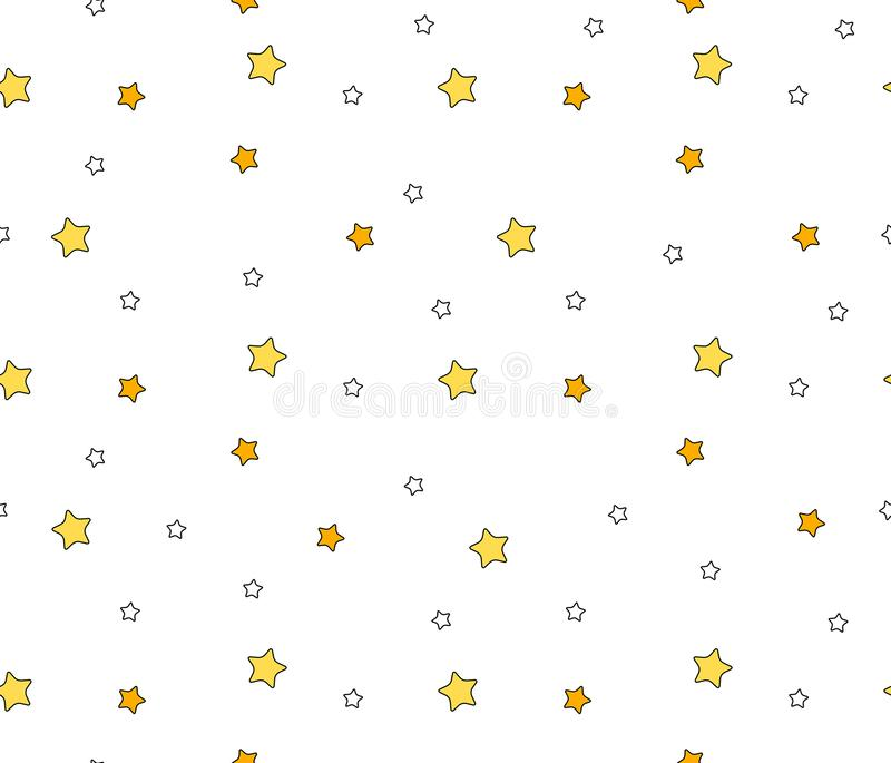 Seamless pattern with stars. Isolated on white background stock illustration