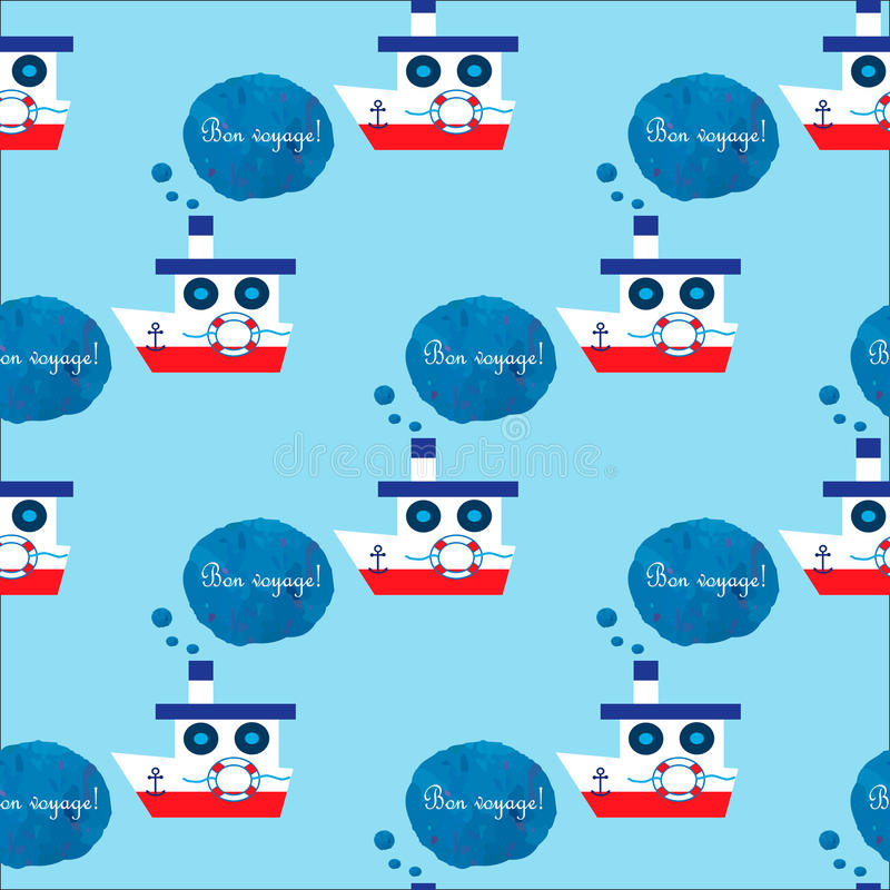 Seamless pattern with steamship. Text in french Bon voyage means have a good trip. EPS 10 royalty free illustration