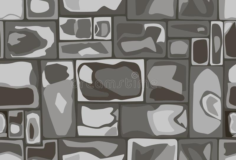 Seamless pattern of stones. Seamless hand-made pattern of rectangular stones in black and white colors royalty free illustration