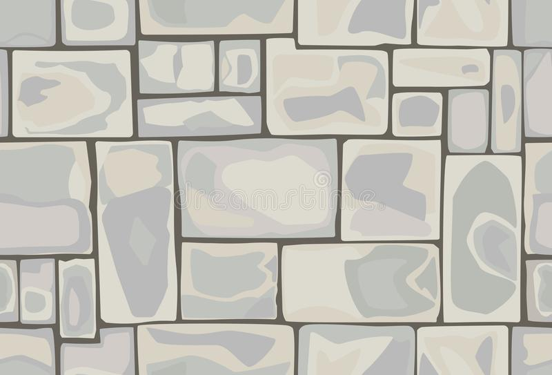 Seamless pattern of stones. Seamless hand-made pattern of rectangular stones in light colors stock illustration