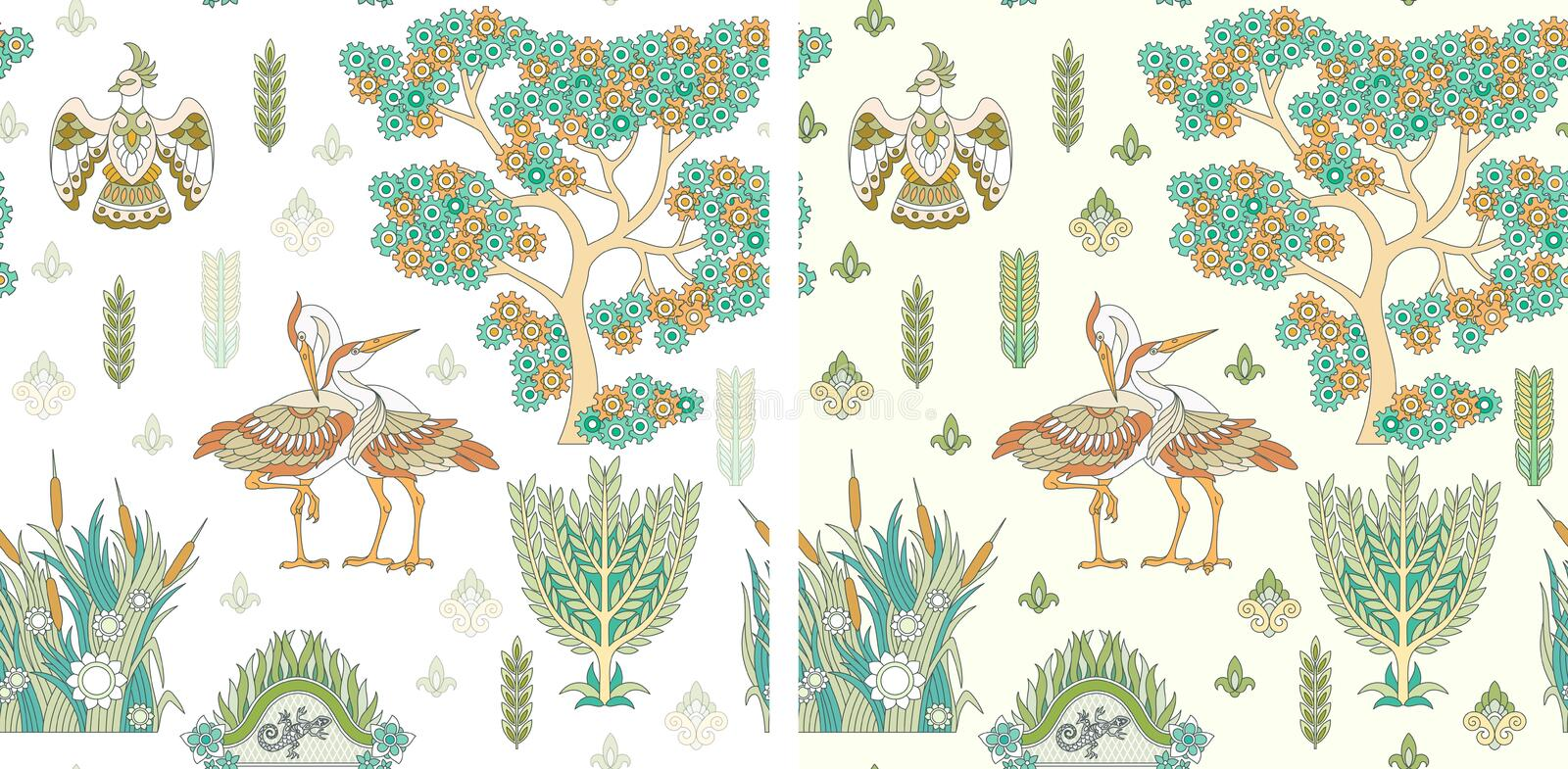 Seamless Pattern with stork birds stock photos