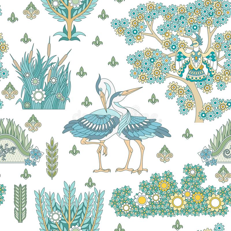 Seamless Pattern with stork birds stock image