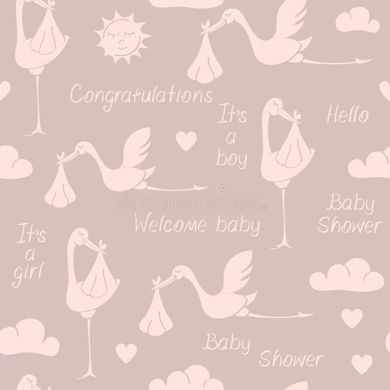 Seamless pattern with storks, babies and phrases. Seamless pattern with silhouettes of storks, babies and phrases. Suitable for wallpaper, wrapping or textile royalty free illustration