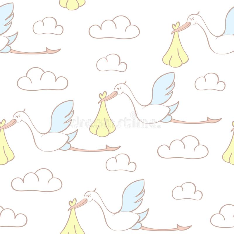 Seamless pattern with storks carrying babies. Suitable for wallpaper, wrapping or textile stock illustration
