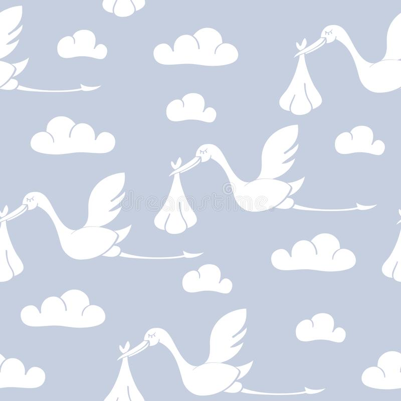 Seamless pattern with storks carrying babies. Suitable for wallpaper, wrapping or textile vector illustration