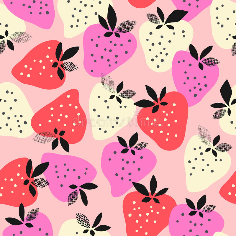 Seamless pattern with strawberries stock illustration