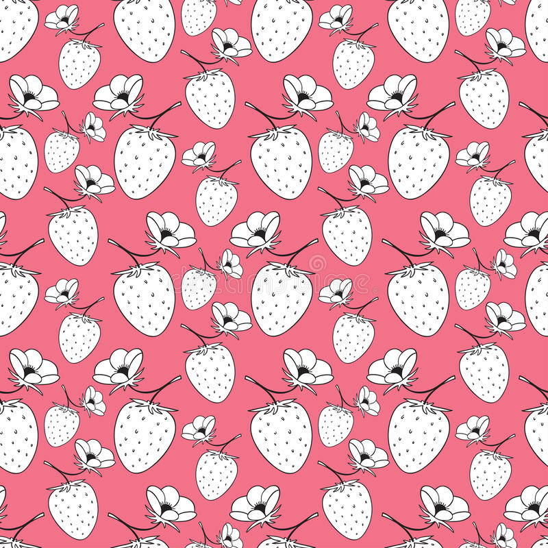 Seamless pattern with strawberries. Vector pink background for textile and packaging design. Seamless pattern with strawberries. Vector pink background for stock illustration
