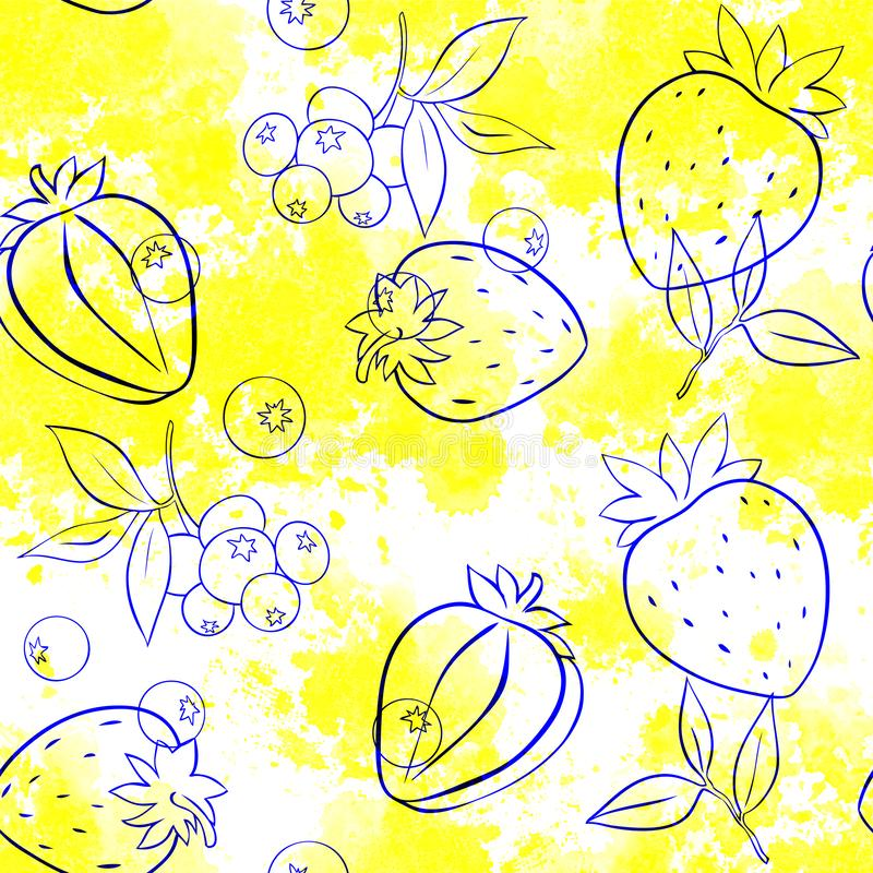 Seamless pattern of Strawberry and blue-berry outline on background stock illustration