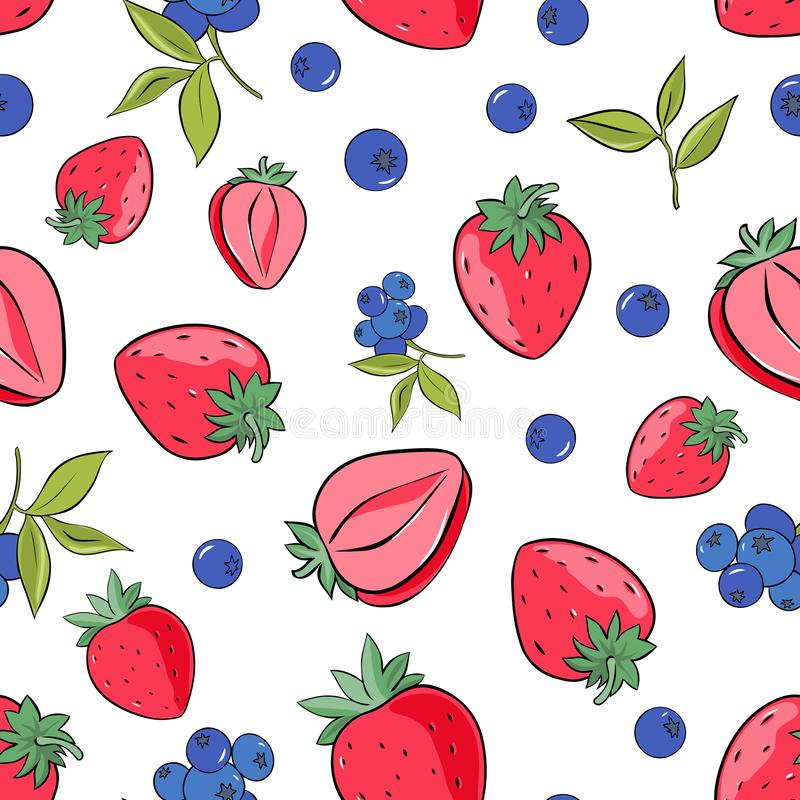 Seamless pattern of strawberry and blueberry on white background stock illustration
