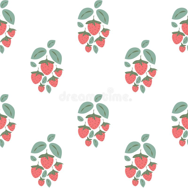 Seamless pattern with strawberry bushes in cartoon style on white background. Red strawberries and green leaves. vector illustration