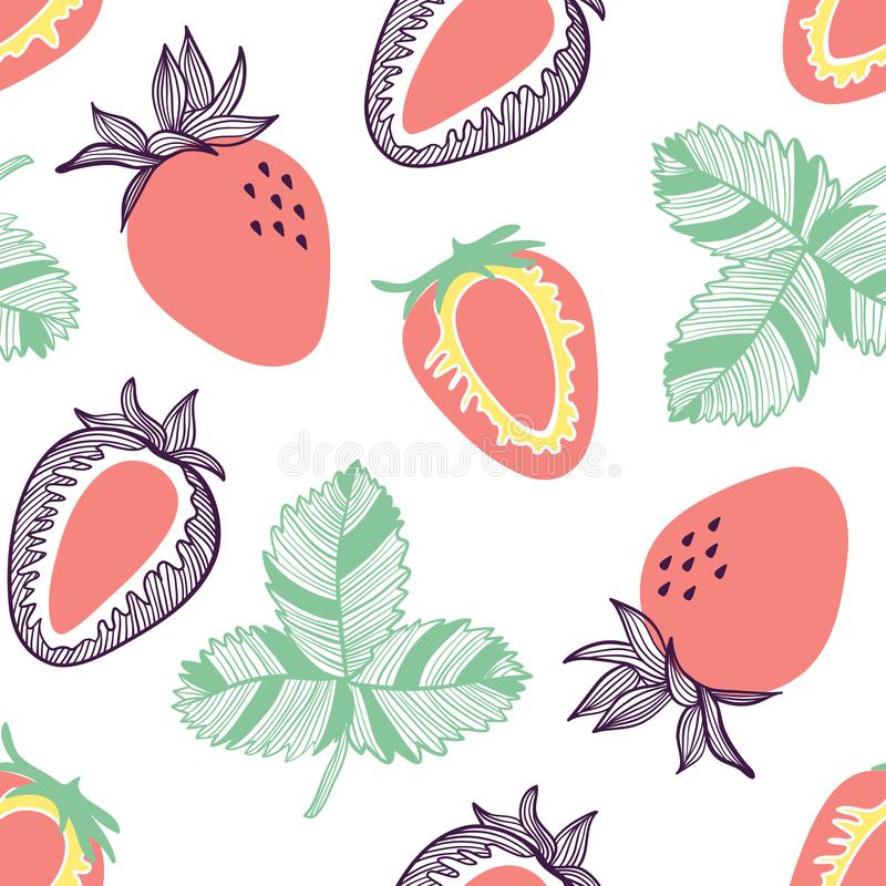 Seamless pattern of strawberries. Fruit, leaf, slice of strawberry. Vector hand drawn illustration set in modern trendy flat style. Seamless pattern of vector illustration