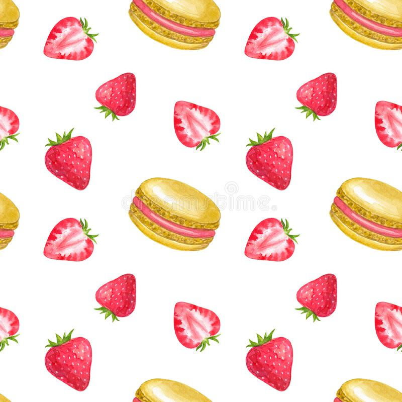 Seamless pattern with strawberry and macaroons. Hand drawn watercolor illustration. Isolated on white background. royalty free illustration