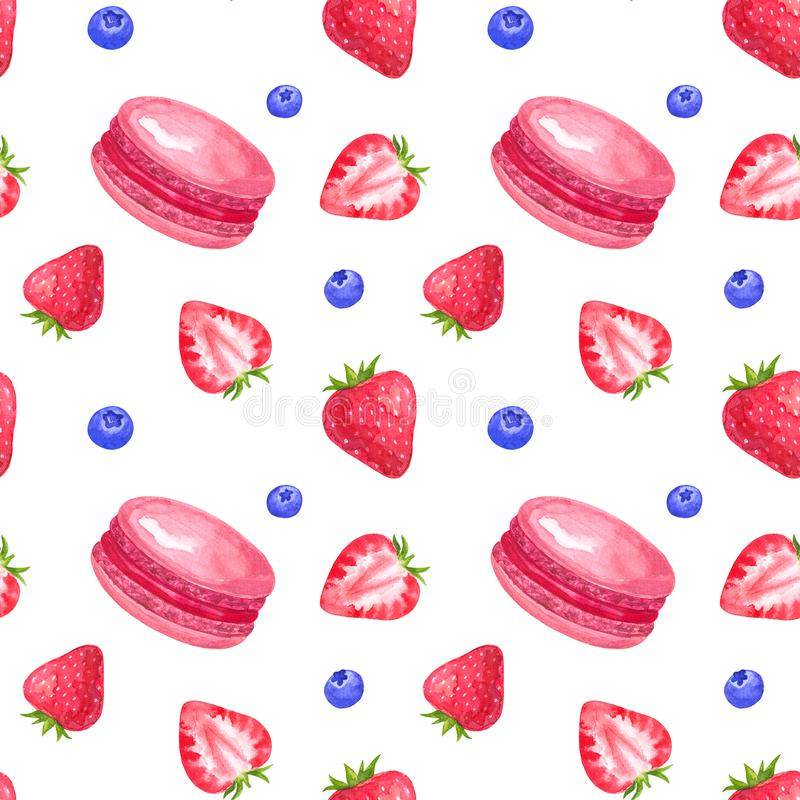 Seamless pattern with strawberry and macaroons. Hand drawn watercolor illustration. Isolated on white background. vector illustration