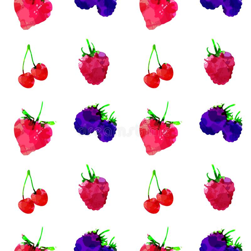Seamless pattern with strawberry, raspberry, blackberry, cherry, berry with blots and stains on a white background. Watercolor art. Freehand creative vector stock illustration