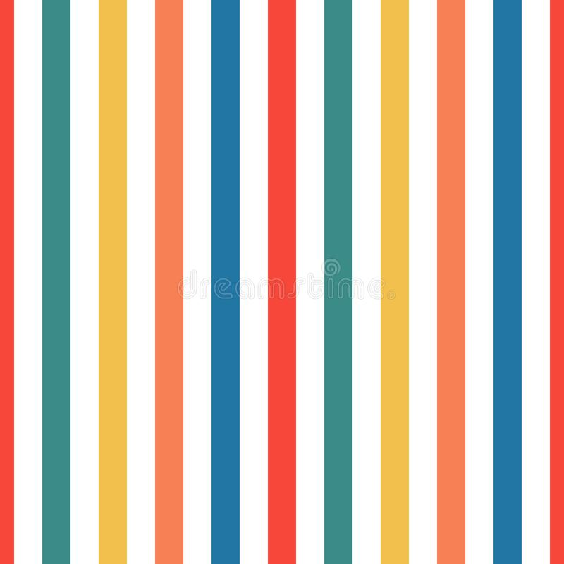 Seamless pattern stripe red, green, orange, blue and yellow colors. Vertical pattern stripe abstract background vector illustratio vector illustration