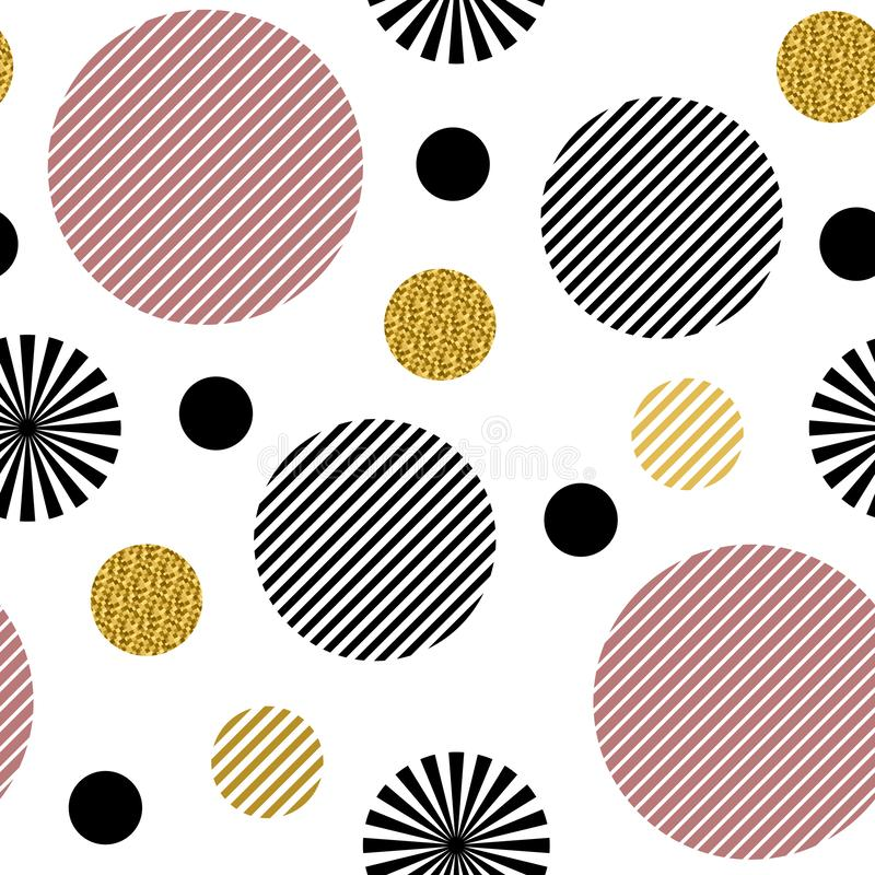 Seamless pattern. Striped black and pink circles and circles with gold glitter isolated on the white background vector illustration