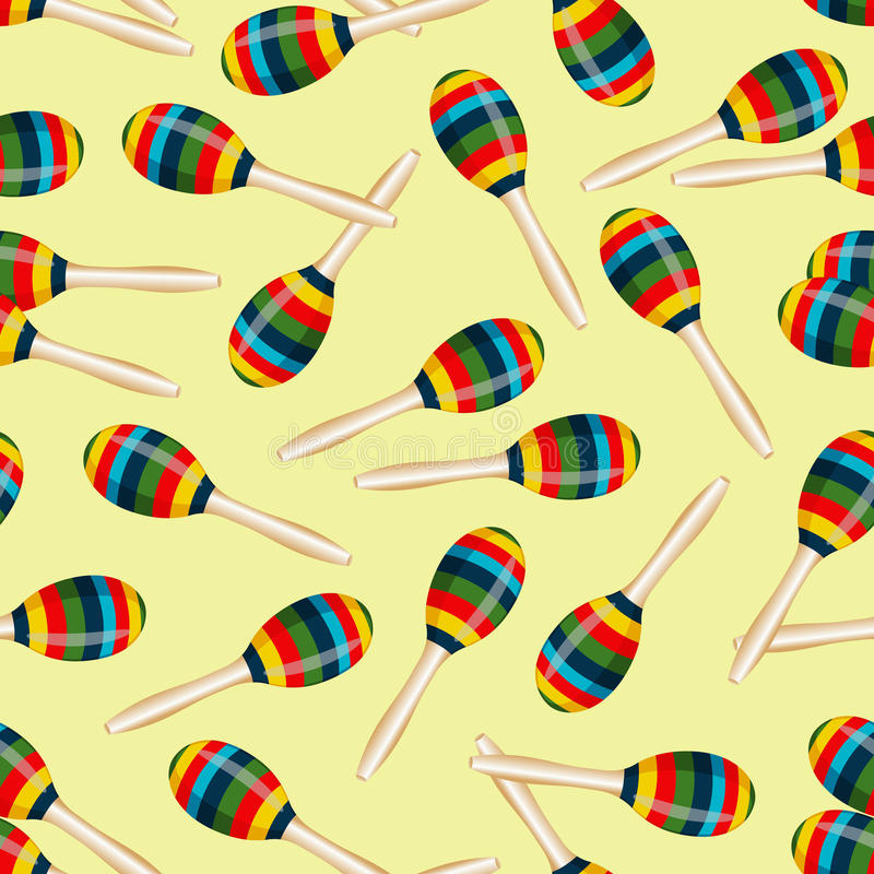 Seamless pattern with striped mexican maracas. Mariachi music wallpaper. stock illustration