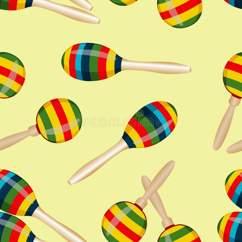 Seamless pattern with striped mexican maracas. Mariachi music wallpaper. Vector. Illustration royalty free illustration