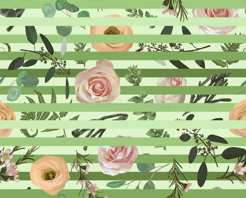 Seamless pattern, stripes background, texture print vector. Pink rose flowers, eustoma cream, brunia, green fern, eucalyptus,. Branches buxus. Tender, elegant vector illustration