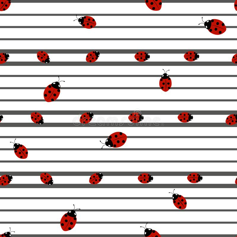 Seamless pattern with stripes and ladybirds. Seamless pattern with stripes of black color of different widths and ladybirds on a white background, ready for vector illustration