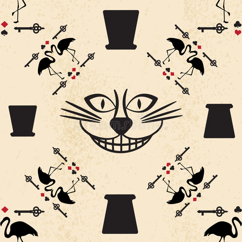 Seamless pattern in the style of Alice in Wonderland. Vector background with the Cheshire cat. Flamingos and playing cards stock illustration