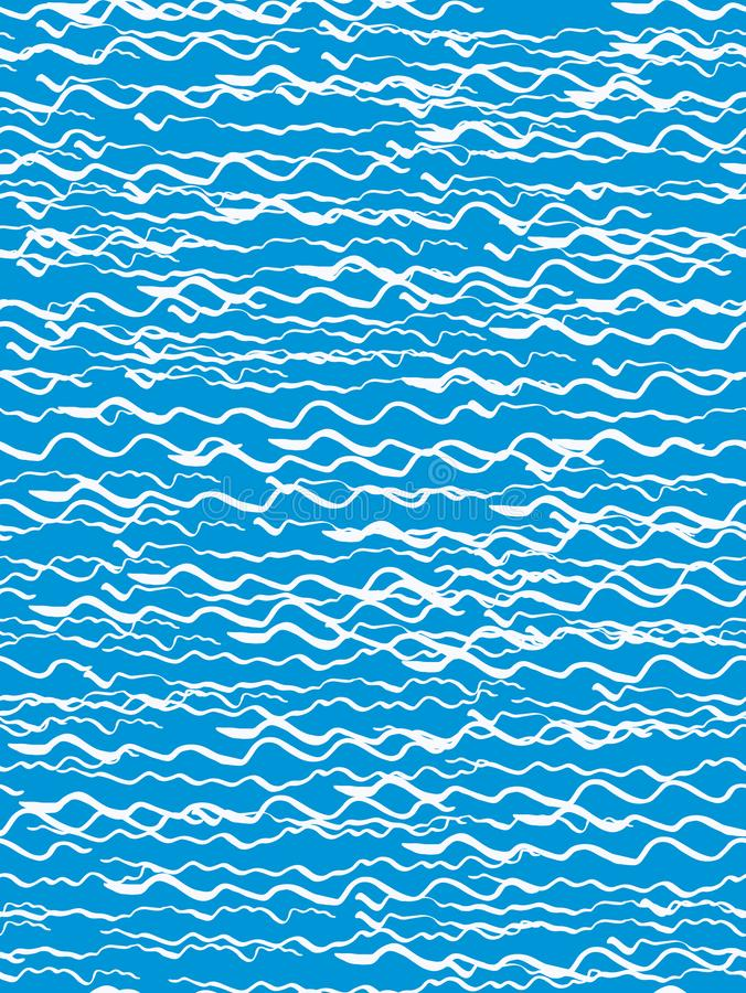 Seamless pattern in the style of the sketch. White waves on a blue background. Hand drawing ink. Modern minimalism. Vector illustr. Ation vector illustration