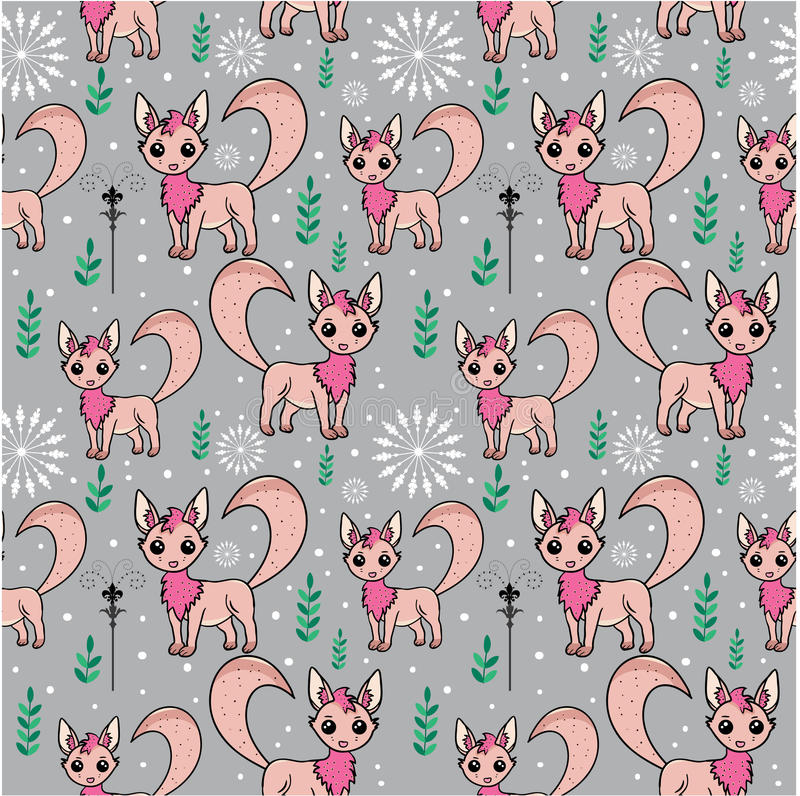 Seamless pattern with stylized arctic foxes stock photos