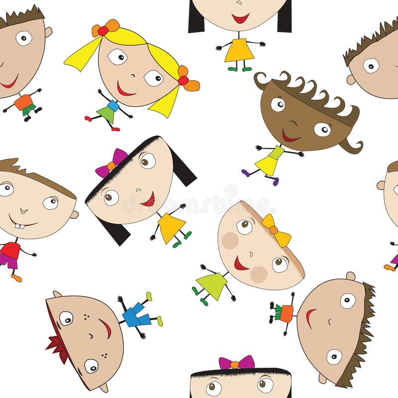 Seamless pattern with stylized children vector illustration