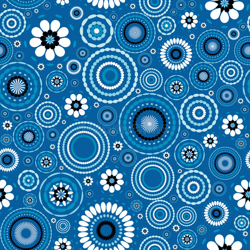 Seamless pattern with stylized flowers over blue background stock illustration
