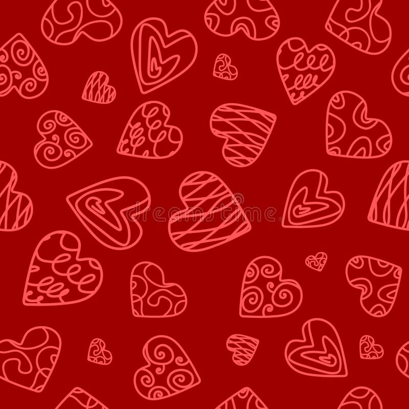 Seamless pattern with stylized hearts royalty free stock image
