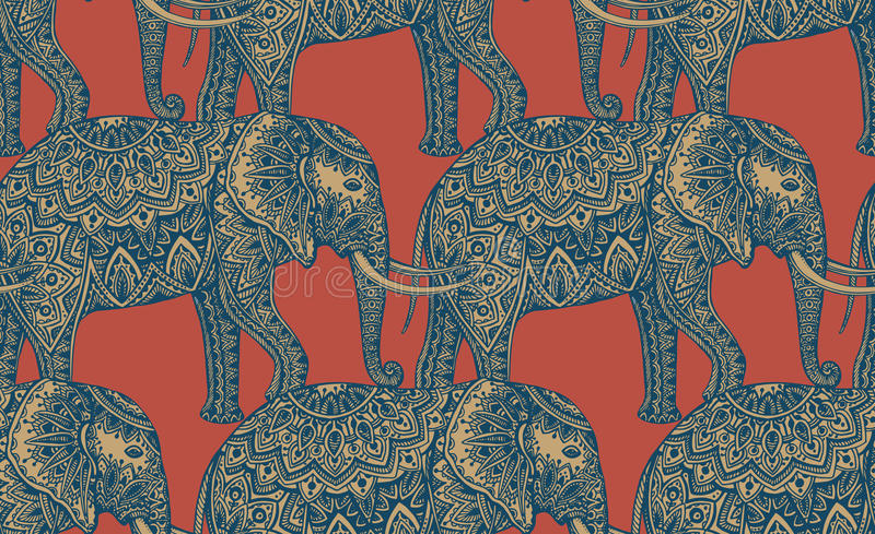 Seamless pattern with stylized ornamental elephants in Indian st vector illustration