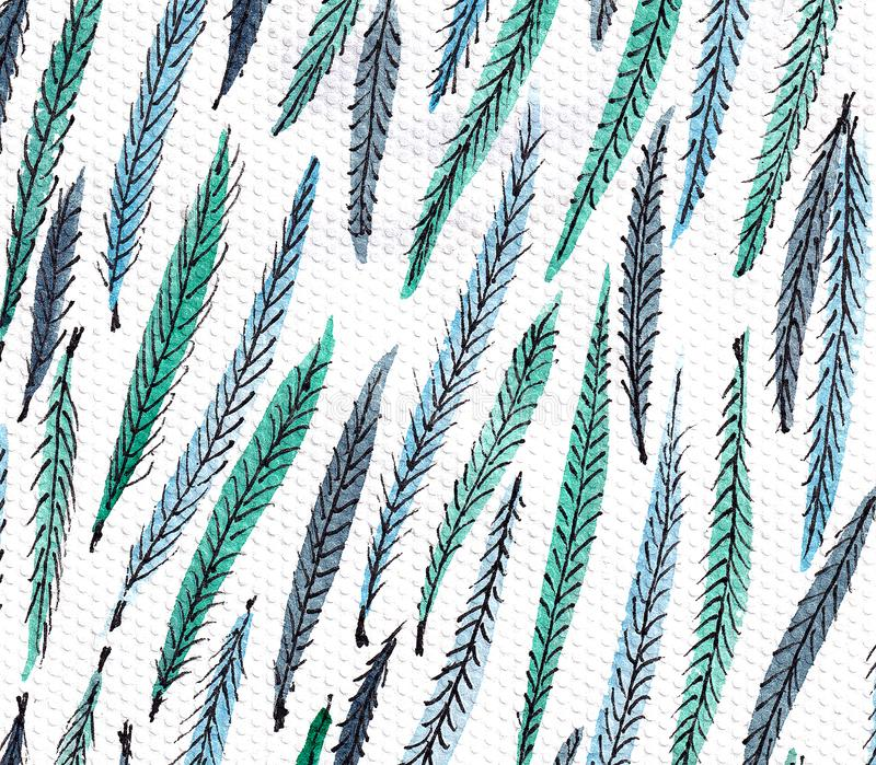 Seamless pattern with stylized peacock feather. Monochrome elegant background stock illustration