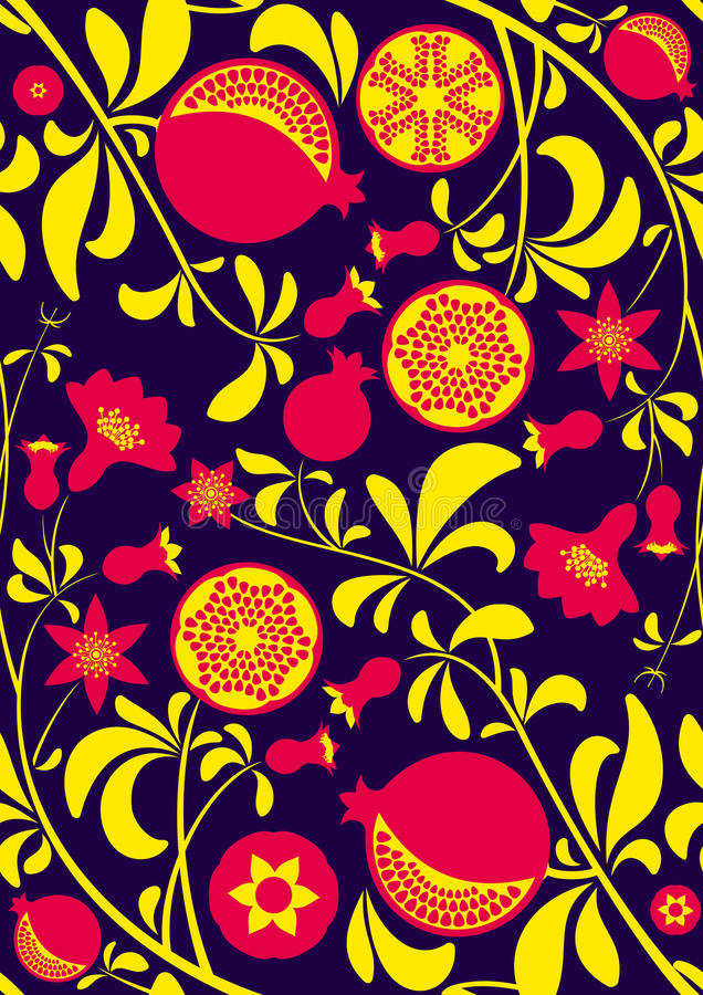 Seamless pattern of stylized pomegranate branch with flowers, leaves, seeds and fruit stock illustration
