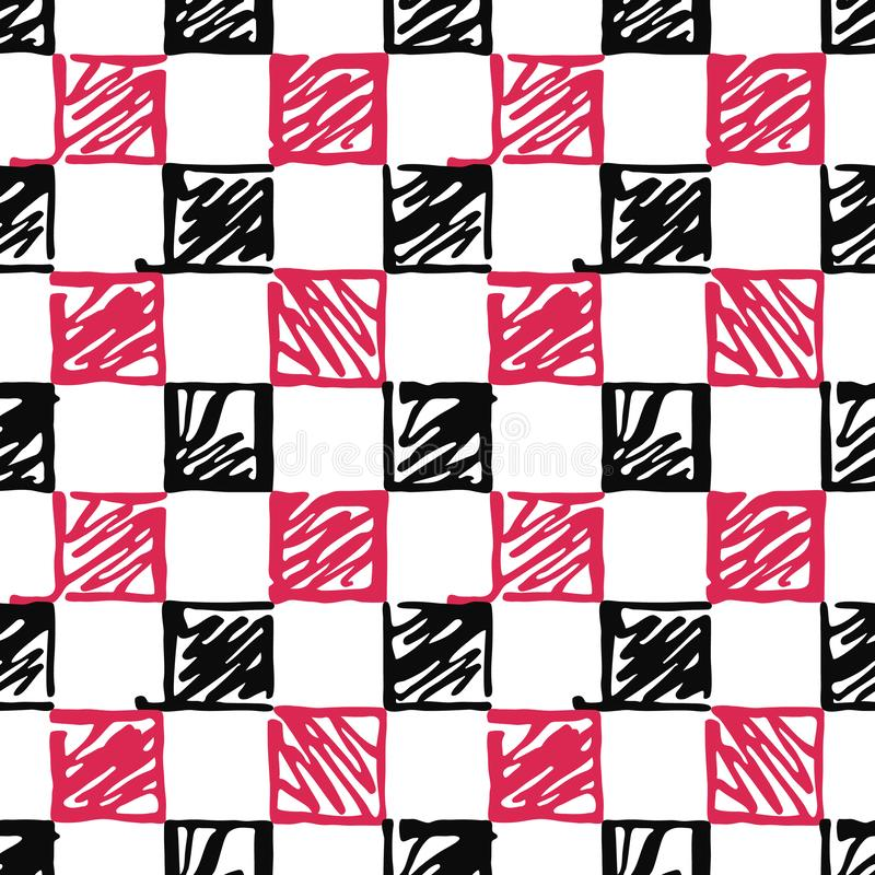 Seamless pattern of the stylized black and red squares on a white background. vector illustration