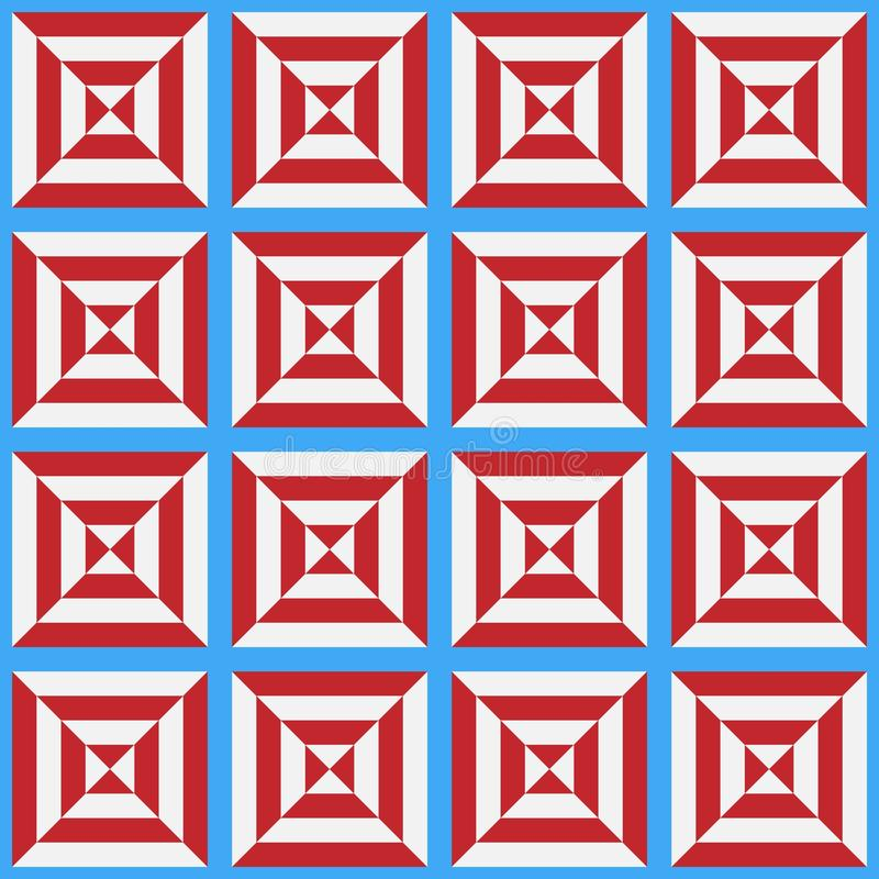 Seamless pattern of the stylized white and red cell on a blue background vector illustration