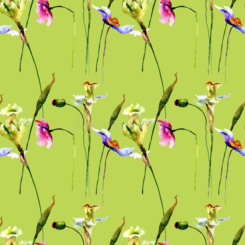 Seamless pattern with stylized wild flowers stock photography