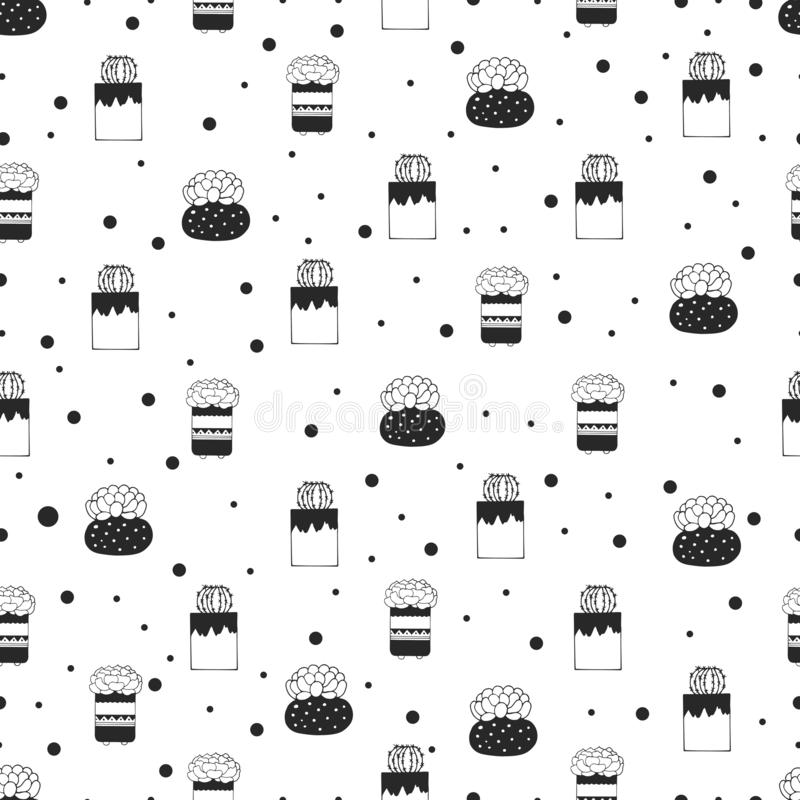Seamless pattern of succulents and cacti in patterned pots stock illustration