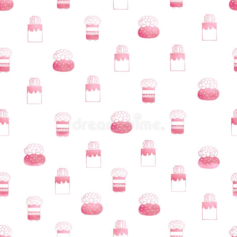 Seamless pattern of succulents and cacti in pots in pink color royalty free illustration