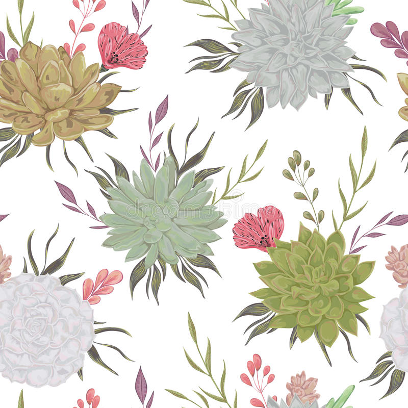 Download Seamless Pattern With Succulents And Floral Elements Rustic Background Stock Vector