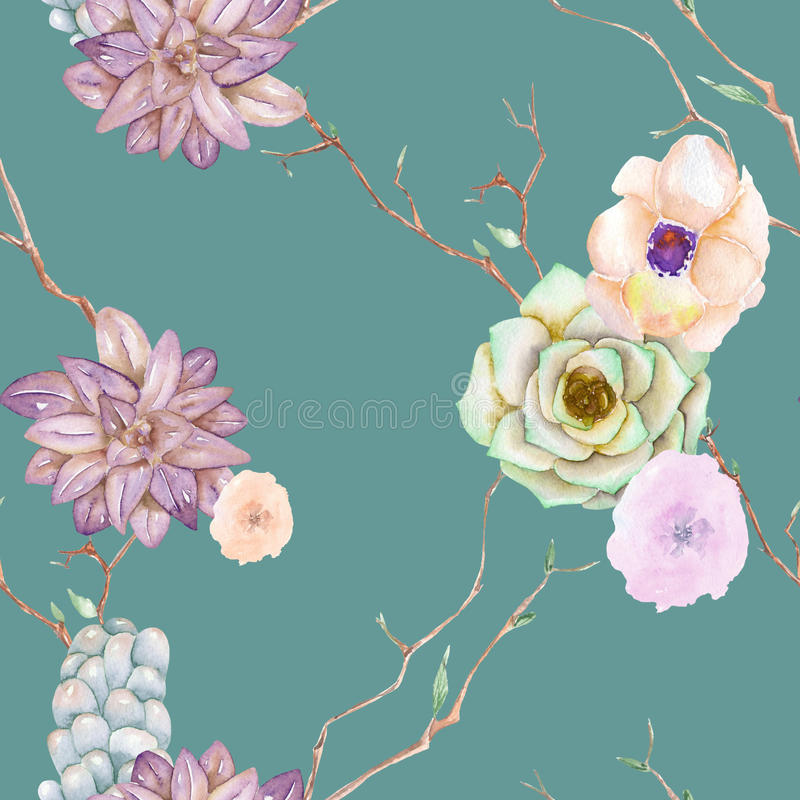 A seamless pattern with the succulents stock illustration